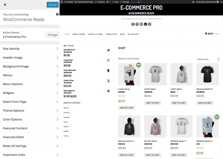 E-Commerce Pro Theme Customizer