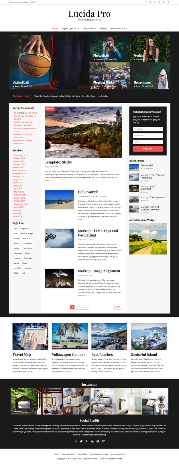 Lucida Pro, the WordPress Theme for Magazine and Blogs represents simplicity and clarity