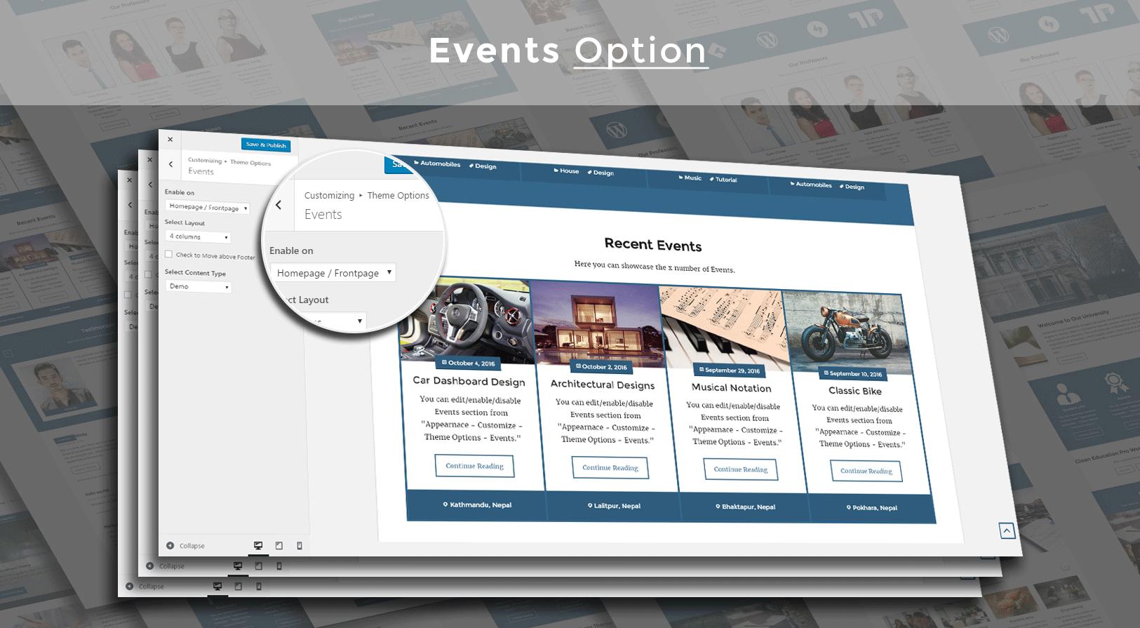 Clean Education Pro - Education WordPress theme - Events Layout Screenshot