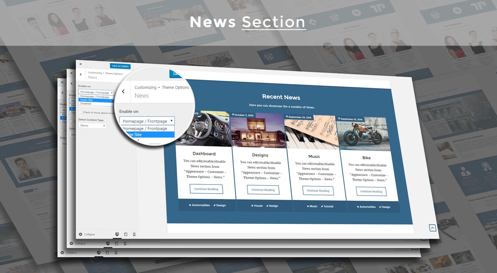 News Section Layout Screenshot