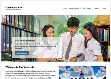 Clean Education Wordpress Theme