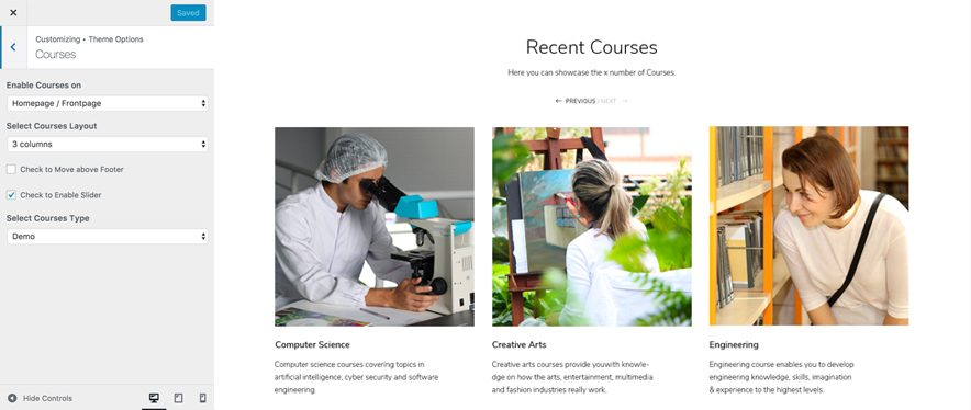 Higher Education Pro - Education WordPress theme - Courses Showcase Screenshot