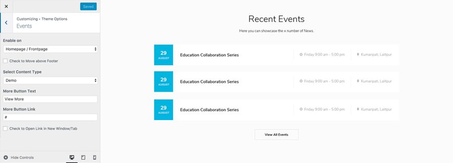 Higher Education Pro - Education WordPress theme - Event Design Screenshot