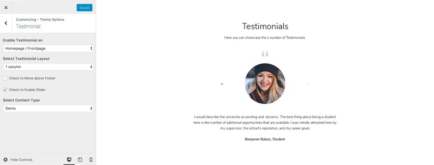 Testimonials Showcase Screenshot