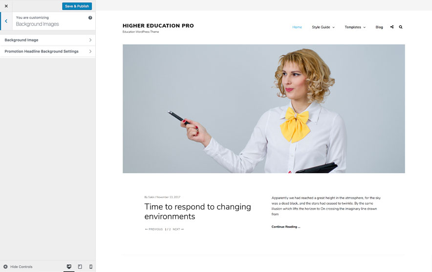 Higher Education Pro - Education WordPress theme - Background Image Options Screenshot