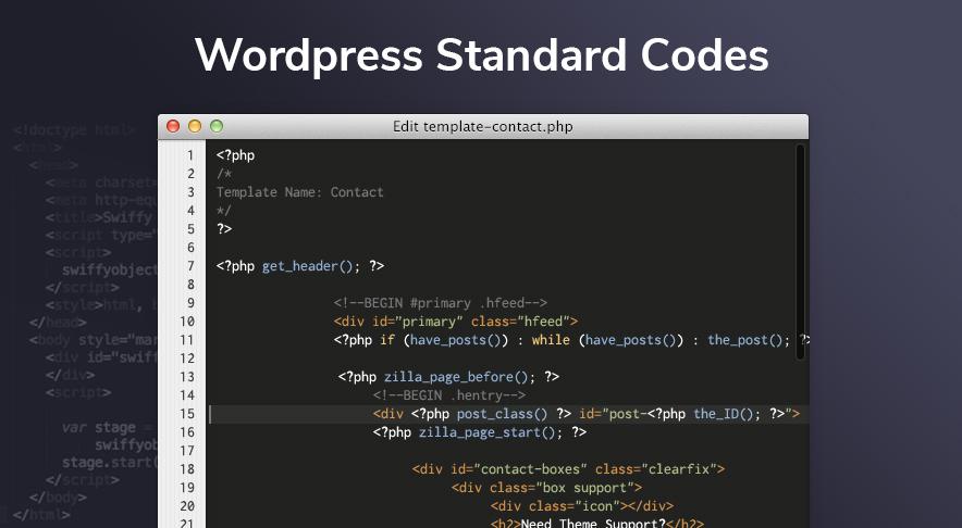 WordPress Standard Codes