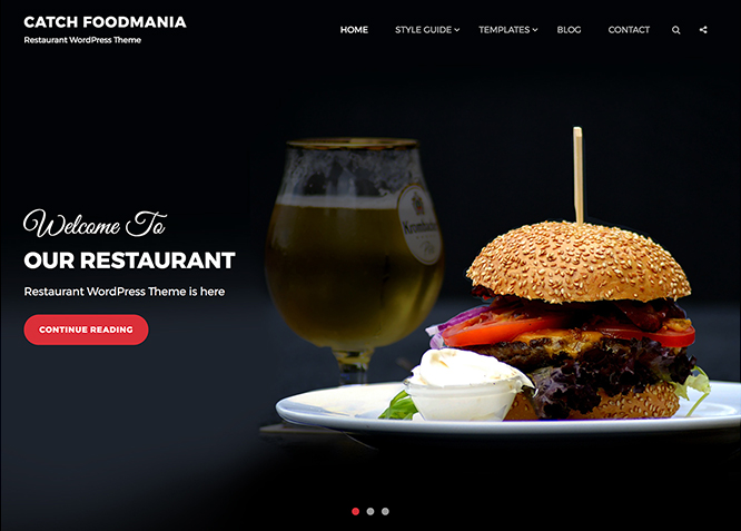 Catch Foodmania Is A Free And Restaurant WordPress Theme