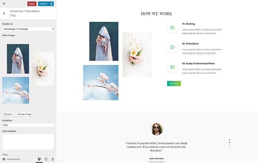 SimClick Pro – A Premium Photography WordPress Theme - FAQ Design Screenshot