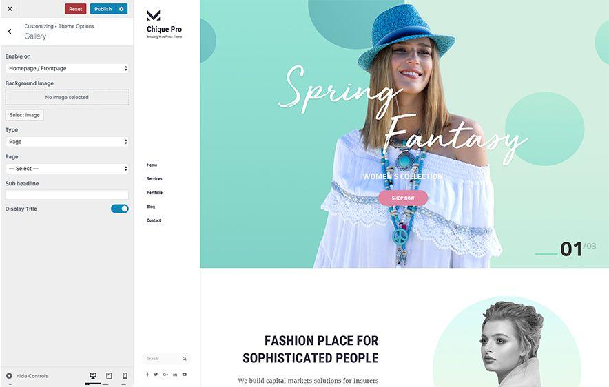 Featured Slider Module in Chique Pro Premium Fashion WordPress Theme