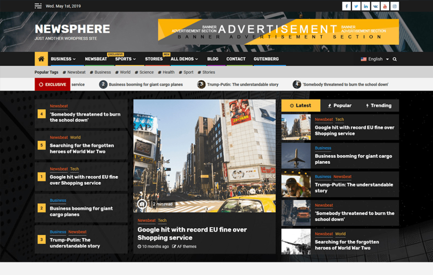 Newsphere Free Magazine WordPress Theme