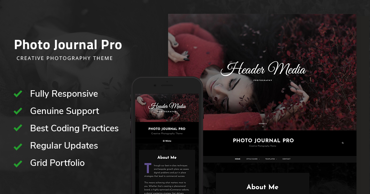 Photo Journal Pro is a premium photography WordPress theme