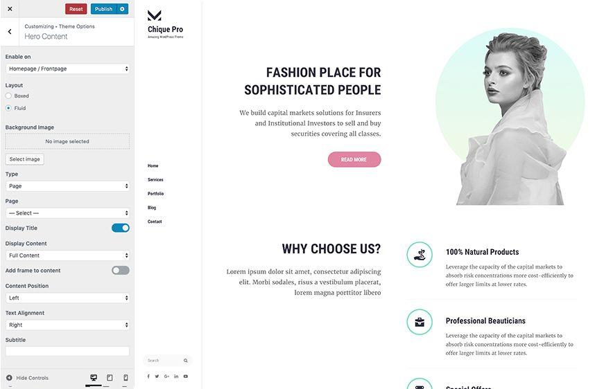Hero Content Module in Chique Pro Premium Fashion WordPress Theme