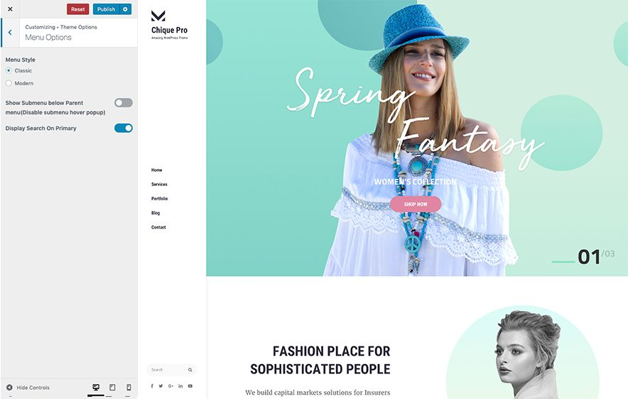 Menu Options in Chique Pro Premium Fashion WordPress Theme