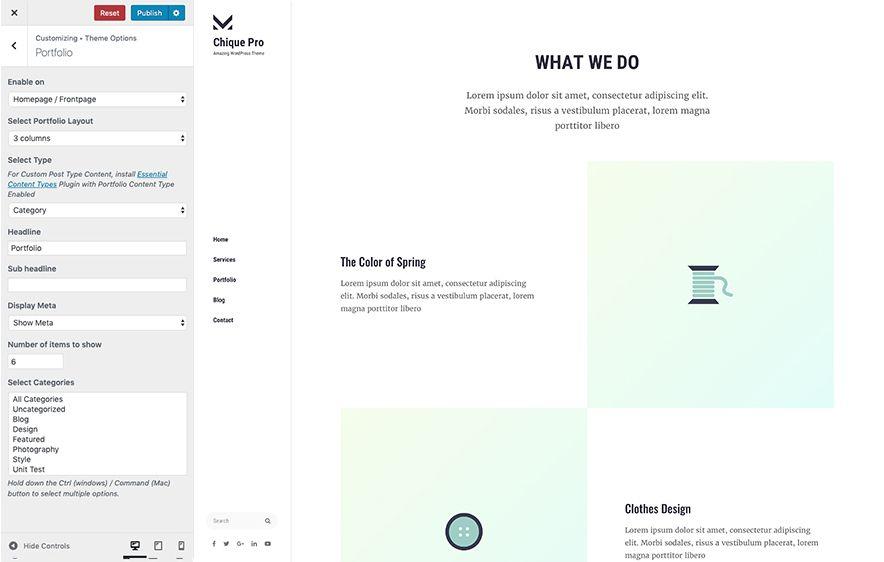 Portfolio Module in Chique Pro Premium Fashion WordPress Theme