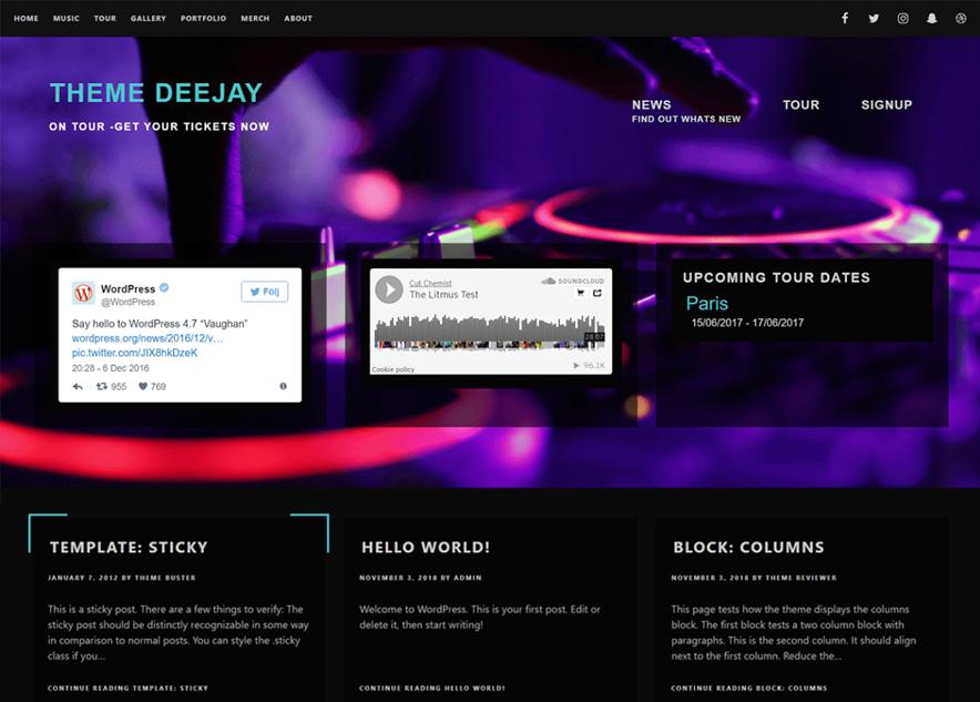 Deejay - 10+ Best Free Music WordPress Themes