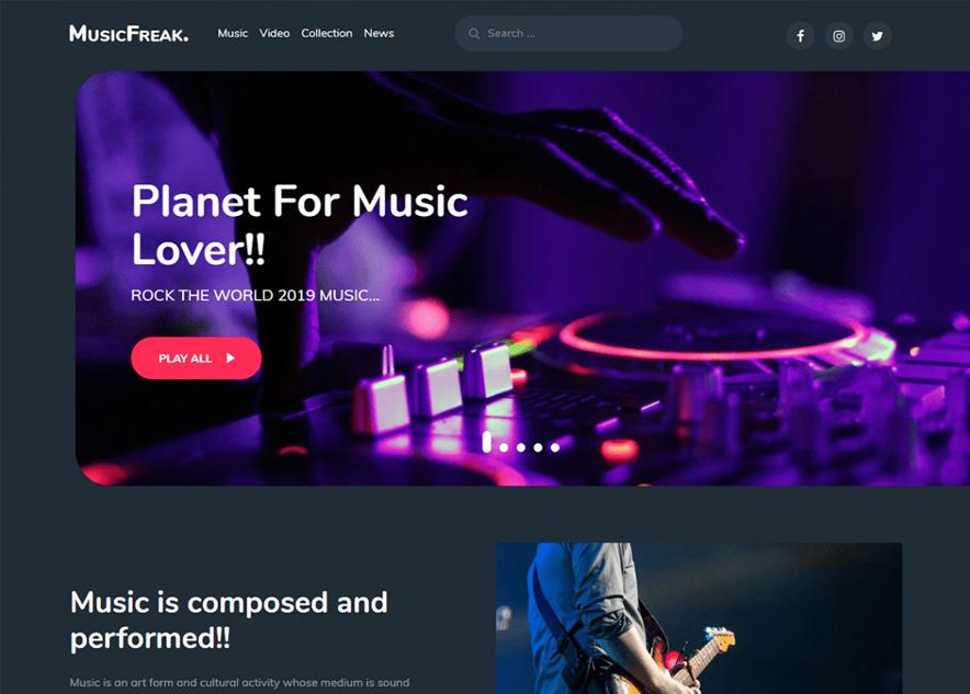 Music Freak - 10+ Best Free Music WordPress Themes