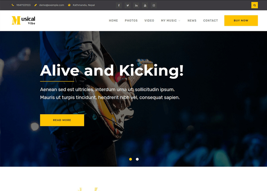 Musical Vibe - 10+ Best Free Music WordPress Themes