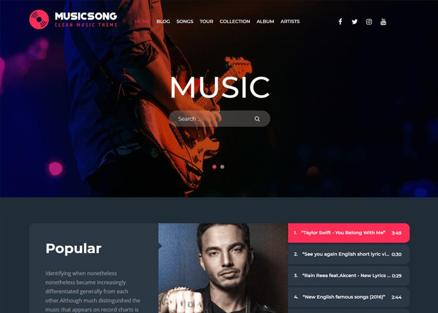 Music Song - 10+ Best Free Music WordPress Themes