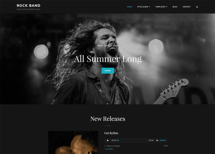 Rock Band - 10+ Best Free Music WordPress Themes