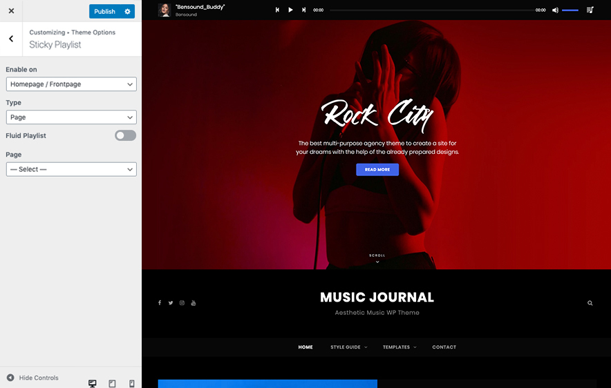 Sticky Playlist section in Music Photo Journal