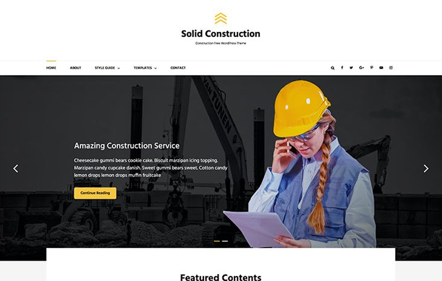 Solid Construction -40+ Best Free Business WordPress Themes for 2020