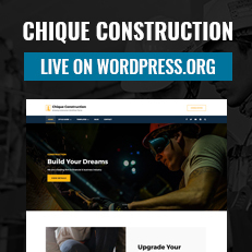 Chique Construction live on WordPress.org