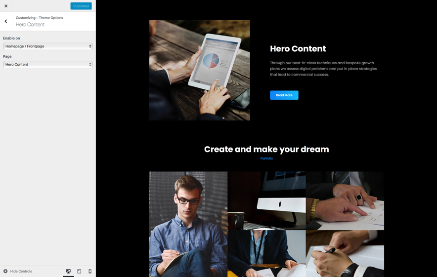 Hero Content in BusinessFocus, a responsive Business WordPress Theme