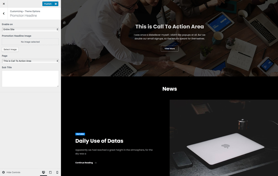 Promotion Headline in BusinessFocus, a responsive business WordPress Theme