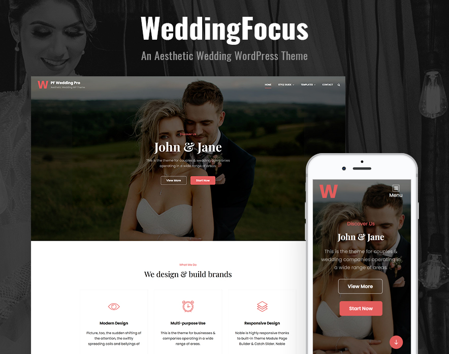 Our Latest Addition WeddingFocus – An Aesthetic Wedding WordPress Theme main image