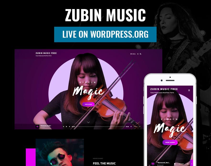 Zubin Music is live on WordPress.org main image