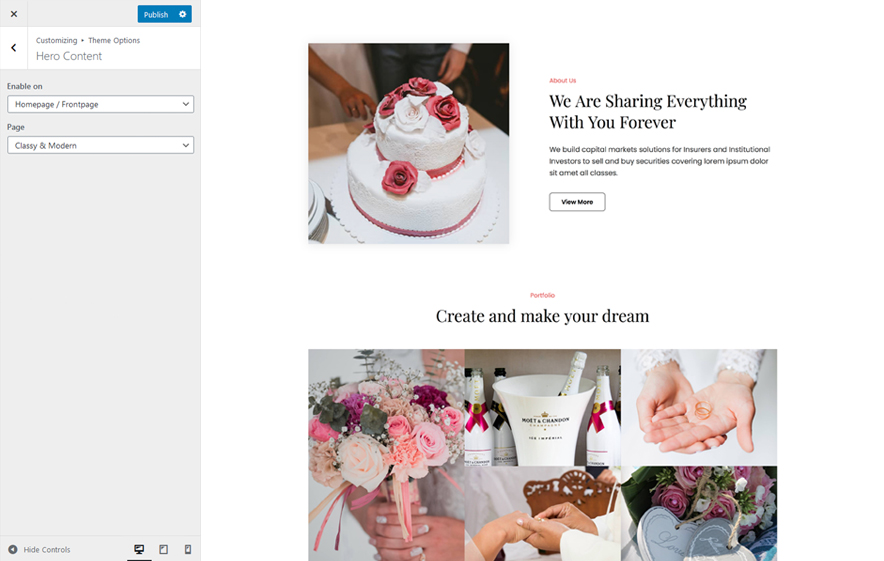 Hero Content in WeddingFocus - an aesthetic Wedding WordPress Theme