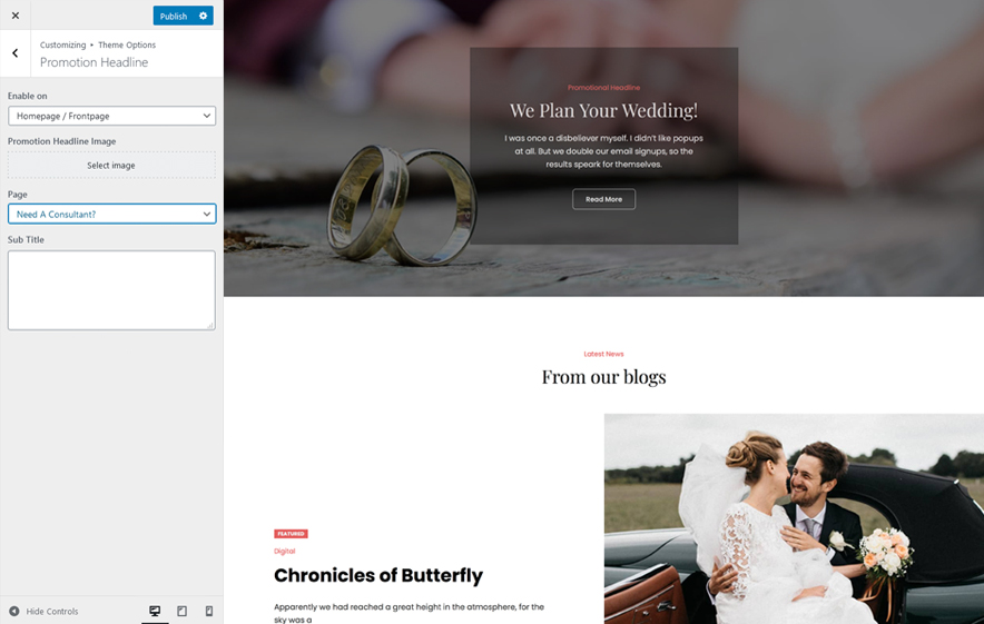 Promotion Headline in WeddingFocus - An aesthetic Wedding WordPress theme