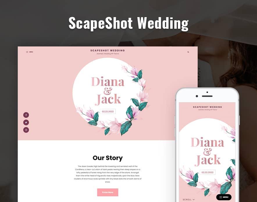 ScapeShot Wedding - Wedding WordPress Theme main image