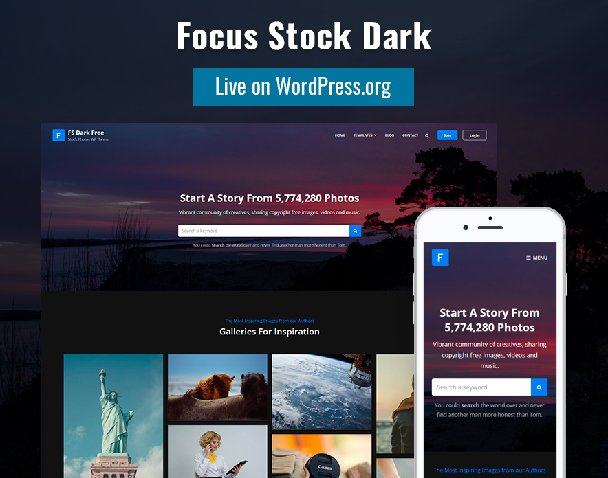 Our Focus Stock Dark Theme is Now Live on WordPress.org main image
